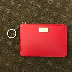 Orange Red Kate Spade coin and card purse